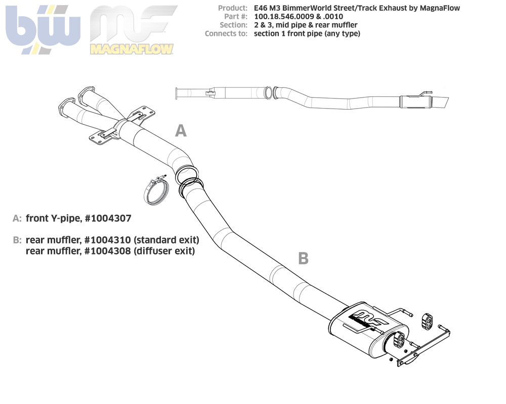 E46 M3 Section 2 BimmerWorld by MagnaFlow Street/Track Y-pipe
